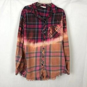 Reverse bleach dyed flannel size S